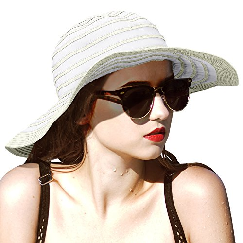 Womens Sun Hat w/Floppy Brim Straw Edge Foldable Gardening Hiking Beach Cap