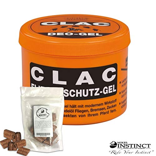 Pharmaka Clac 86 Natural Biting Insect Repellent Fly Protection Gel for Horses & Mikes Instinct Apple Flavored Horse Treats - Protect Against Stinging Bugs & Ticks - 16.9 oz. [Bundle: Clac & Treats]