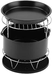 7-in-1 Air Fryer Accessories Set Kit, Parts Metal Holder Skewer Rack Cake Barrel Deep Oven Cooker,Detachable Dishwasher washable Basket (Black)