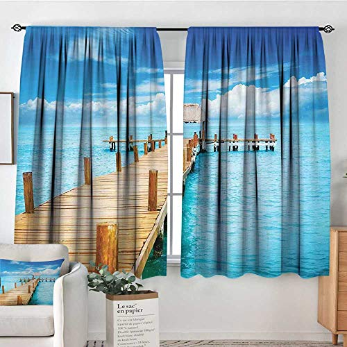 Elliot-Dorothy-Kitchen-Curtains-TropicalBungalow-on-Clear-Sea-Travel-Destination-Beach-Seascape-Exotic-ViewPale-Brown-Blue-AquaDarkening-and-Thermal-Insulating-Drapes
