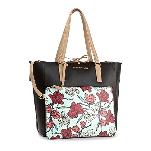 TRUSSARDI JEANS Borsa shopping bag Kuala lumpur orchid print Nero