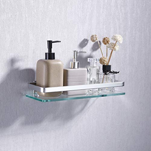 KES Aluminum Bathroom Glass Shelf Tempered Glass Rectangular 1 Tier Extra Thick - Bathroom Glass Mirrors With Shelf