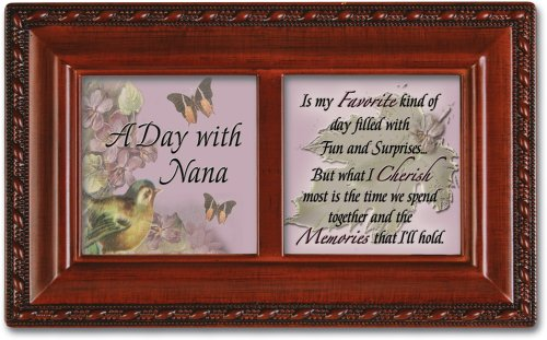 Cottage Garden Petite Music Box - A Day With Nana Plays Wonderful World With Woodgrain Finish ()