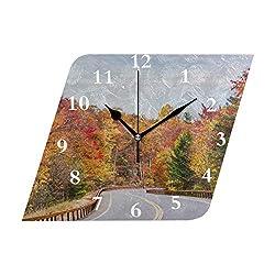 HangWang Wall Clock Autumn in The Hudson River Valley Silent Non Ticking Decorative Diamond Digital Clocks Indoor Outdoor Kitchen Bedroom Living Room