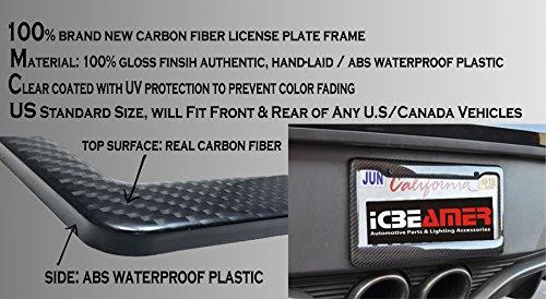 ICBEAMER Waterproof Black Plastic + Gloss Carbon Fiber on top Auto Vehicle Truck Van License Plate Frames by ICBEAMER (Image #3)