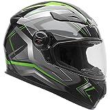 Vega Helmets Unisex-Adult Full Face Motorcycle Helmet (Green Flash Graphic, Large)