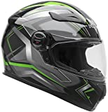 Vega Helmets AT2 Street Motorcycle Helmet for Men & Women - DOT Certified Full Face Motorbike Helmet for Cruisers Sports Street Bike Scooter Touring Moped (Green Flash Graphic, Large)