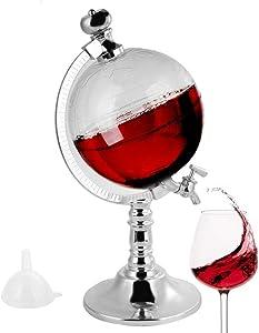 GKanMore Globe Decanter 1.8L Globe Shape Dispenser with Funnel and Stopper - Tap Design, Decanter Dispenser for Wine, Liquors, Whiskey, Drinks