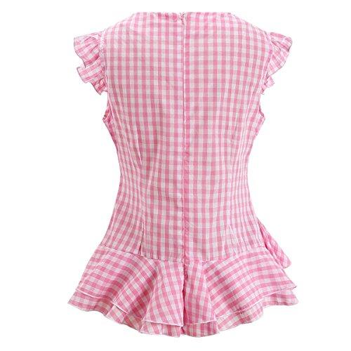 a5c247191 AOMEI Women Sleeveless Plaid Blouses Ruffles Vintage Gingham Peplum Top  Shirts