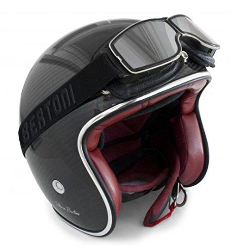 Gafas Moto Vintage de Piel Negra y Montura Cromo - Ventilación Anti-Vaho - by Bertoni Italy - AF188B - Gafas Motoristas para Cascos Moto Harley y Chopper: ...