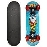 Rude Boyz 17 Inch Mini Wooden Skateboard - Blue Eyeball Design