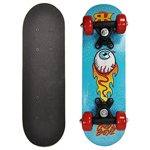 Rude Boyz 17 Inch Mini Wooden Skateboard - Blue Eyeball