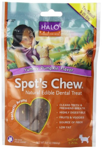 Halo Purely for Pets Spot's Chew Natural Edible Dental Treat for Toy & Small Breeds, Yummy Pumpkin, 5.6-Ounce