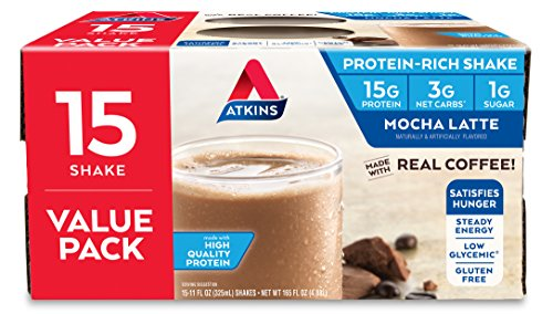 Atkins Gluten Free Protein-Rich Shake, Mocha Latte, 15 Count For Sale