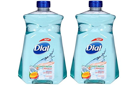 Dial Liquid Hand Soap with Moisturizer, Coconut Water & Mango, 52 Ounce, Pack of 2