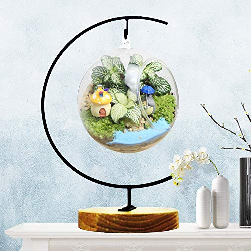 Ornament Display Stand Flower Plant Pot Stand Holder Iron Pothook Stand for Hanging Glass Terrarium (Wood)