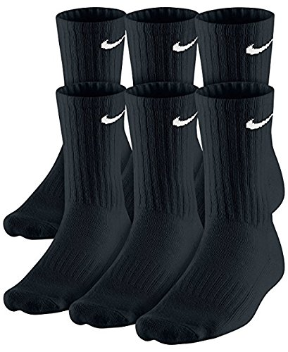 NIKE Dri-Fit Classic Cushioned Crew Socks 6 PAIR Black with White Swoosh Logo) LARGE 8-12