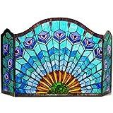 Chloe Lighting Regal Eudora Tiffany-Glass 3Pcs Folding Peacock Fireplace Screen 48″ Wide