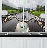Cheap Ambesonne Man Cave Decor Kitchen Curtains, Biker Rides Motorcycle Highway Lifestyle Speed Adventure Foggy Rural Area, Window Drapes 2 Panel Set for Kitchen Cafe, 55 W X 39 L Inches, Multicolor