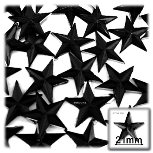 - The Crafts Outlet 144-Piece Flat Back Acrylic Star Rhinestones, 21mm, Jet Black