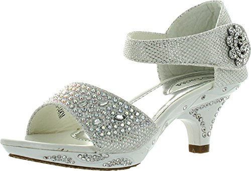 Lucita Jan 14Km Little Girls Rhinestone Heel Platform Dress Sandals Silver