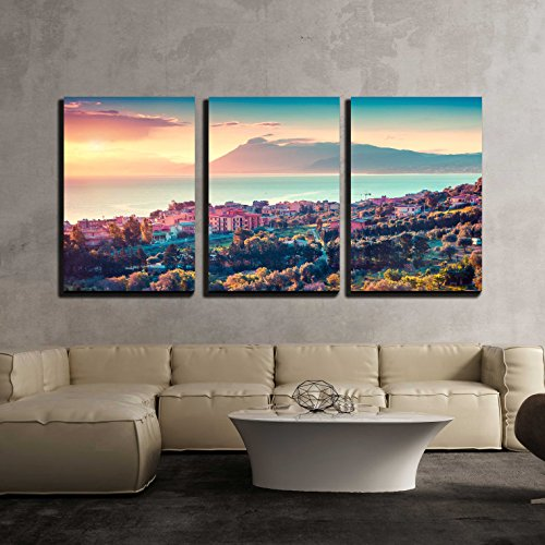wall26 - 3 Piece Canvas Wall Art - Colorful Spring Sunset in the Solanto Village, Mediterranean Sea - Modern Home Decor Stretched and Framed Ready to Hang - 24