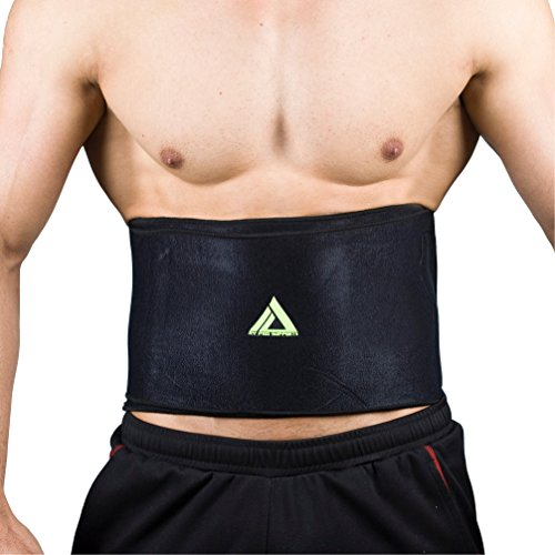 MyProSupports Black Waist Belt Back Support Fat Burner Weight Loss Brace Tummy Trimmer (Large/XL)