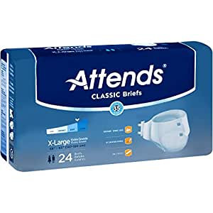 Attends Classic Briefs with Dry-Lock Technology for Adult Incontinence Care, X-Large, Unisex ,  24 Count (Pack of 4)