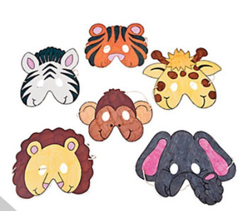 Color Your Own Zoo Animal Masks (12 Count)/Craft/Birthday Party/Activity -