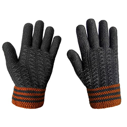 LETHMIK Mens Thick Unique Winter Knit Gloves with Warm Wool Lining Gray
