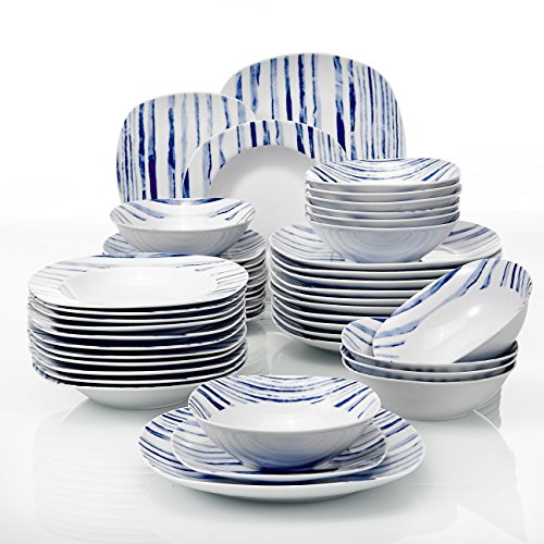 - VEWEET 48-Piece Ceramic Tableware Sets Ivory White Stoneware Plate Sets Dinner Set, Service for 12 - Boheme Blue (JOYCE Series)