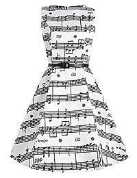 Dezzal Women's Plus Size 1950s Audrey Hepburn Music Note Print Swing Party Dress