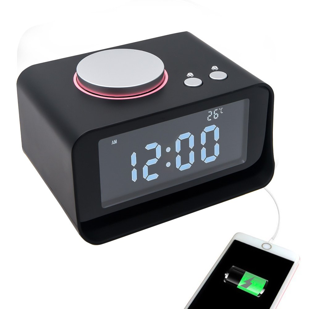 TOP-MAX Digital Alarm Clock Radio, Loud Music Speaker Dual Alarm Clock for Heavy Sleepers with 2 USB Charging Port,FM Radio,Snooze Function Thermometer and 5 Dimmer Brightness LCD Screen for Bedroom