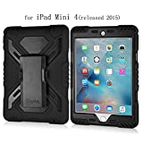 Y&M(TM) iPad Mini Case,Pepkoo Spider Extreme Military Heavy Duty Dust/Shock Proof with stand Hang Cover Tablets Hybrid Hard Army Case For iPad Mini 4 (Black/Black)