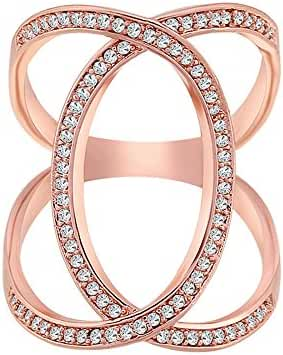 Women Charm Simple Copper Zircon Ring Rose Gold Plated