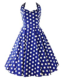BY&M Women's Halter Polka Dots 1950s Vintage Swing Cocktail Tea Dresses