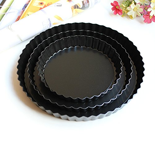 Astra Gourmet Set of 3 Tartlet/Quiche Pan Set with Removable Bottom, Black(6'' & 8'' & 9.5'') by Astra Gourmet