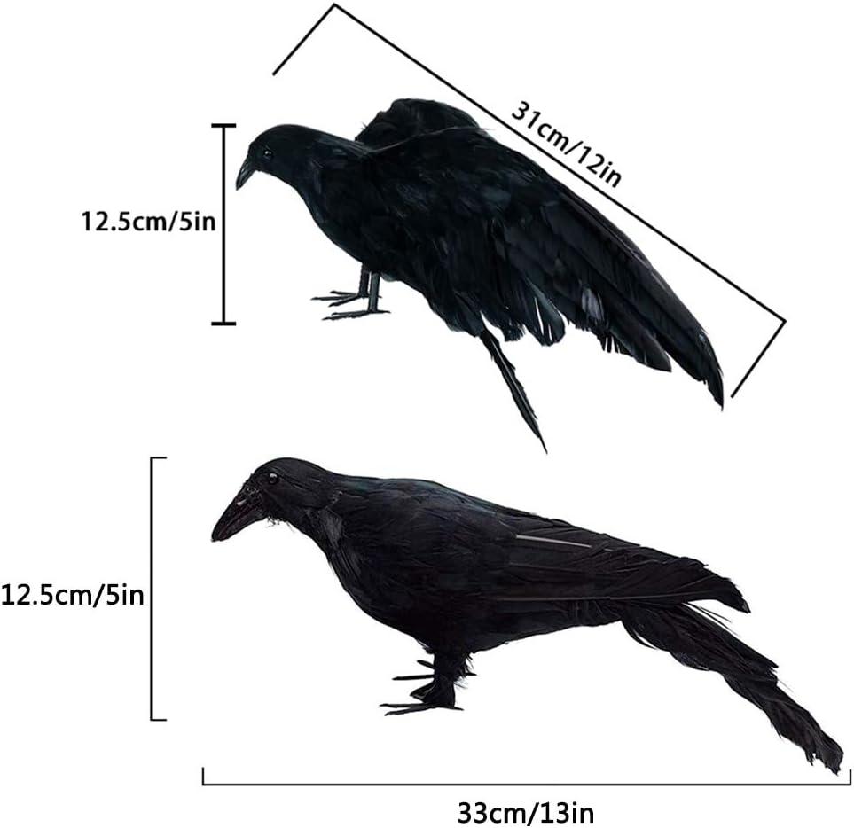 Decoración de Halloween 2pcs Negro Plástico Cuervo Caza Señuelos ...