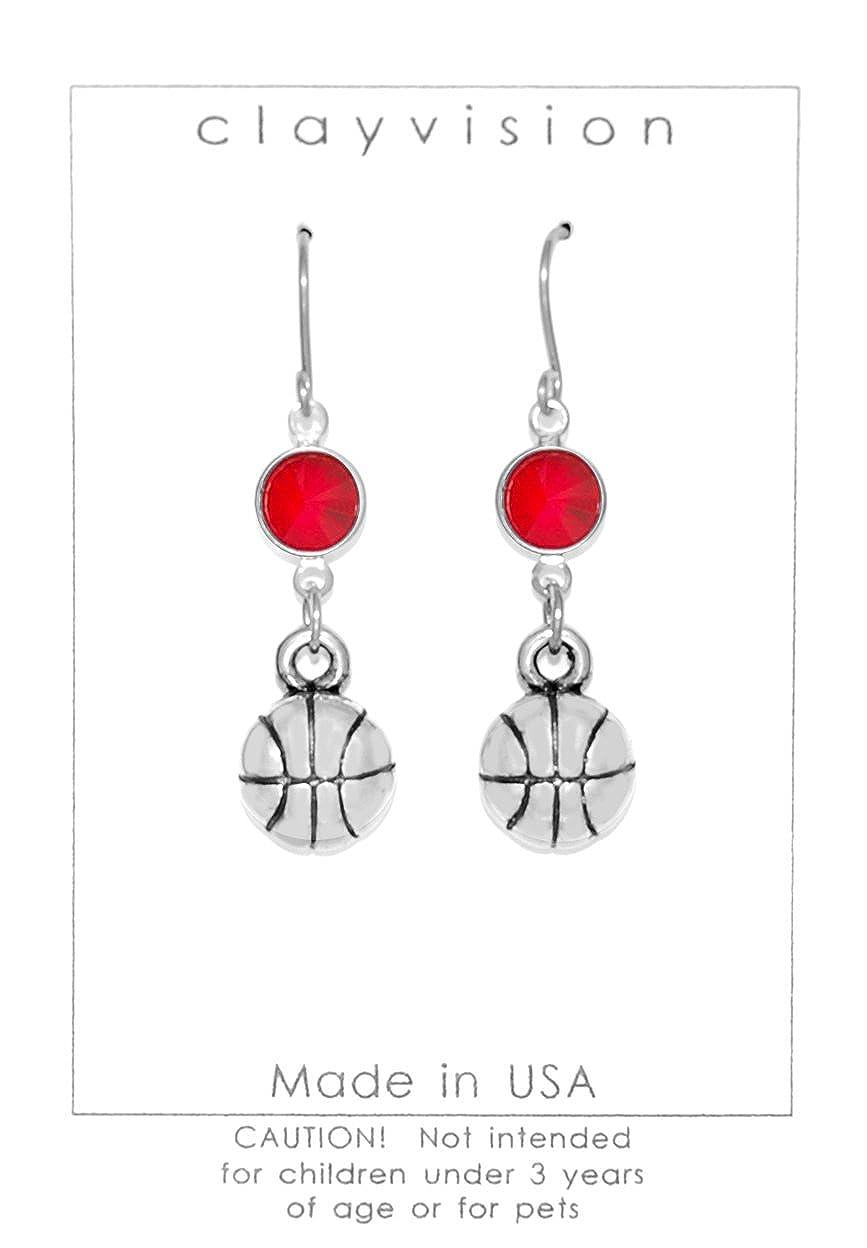 Clayvision - Pendientes de Baloncesto con Cristales de Swarovski ...