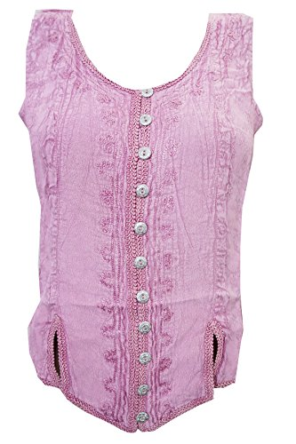 Mogul Interior Womens Peasant Blouse Pink Embroidered Stonewashed Button Front Rayon Tanks Top (Chest:44