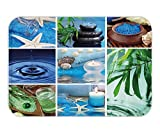 Beshowere Doormat Spa Decor Ocean Theme Collage with Starfish Stone Botanic PlantAqua and CandleImage Fabric Bathroom Decor Set with Hook Long Blue and Green.jpg