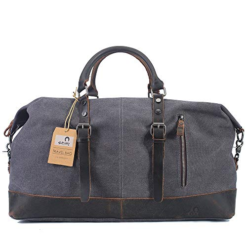 Gray Genuine Earring - Bag&Shoes Accessory Oversized Canvas Leather Trim Travel handbag AfterSo (Dark Gray)