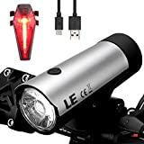 LE USB Rechargeable CREE LED Bike Light Set, Waterproof Bicycle Lights Front and Back, 300 Lumens Headlight and Free Taillight, Easy Install & Quick Release Handlebar Fits All Bikes For Sale