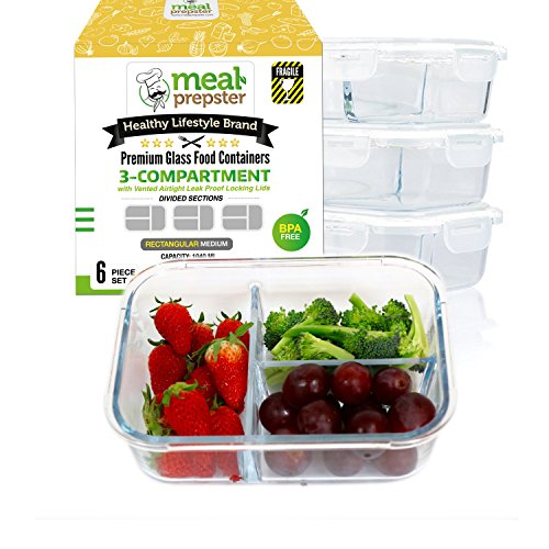[LAUNCH SPECIAL] Meal Prep Divided Glass Containers 3-Pack Set with Vented Snap Lock Lids - BPA Leak Free (35 oz, 4.4 cups, Rectangle 3 Compartment) Oven Microwave Dishwash Freezer Safe Food Storage
