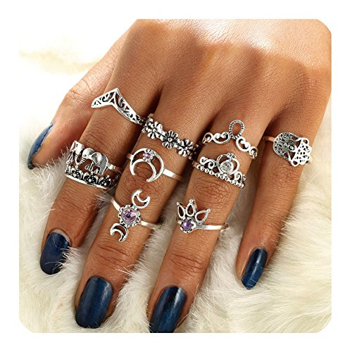 Gudukt Vintage Knuckle Ring Set Silver Crown Elephant Chevron Fatima Boho Stackable Rings For women (Mine Crown Silver)