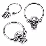 Skull Bead 316L Surgical Steel Captive Bead WildKlass Ring (Sold by Piece)