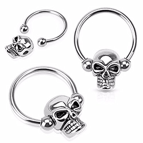 Skull Bead 316L Surgical Steel Captive Bead WildKlass Ring (Sold by Piece) ()