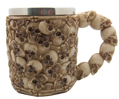 Gothic Coffee Mug of Skulls Creepy Tankard Cup with Stainless Steel Interior & Resin Exterior Holds 12 (Scary Halloween Coffee Mugs)