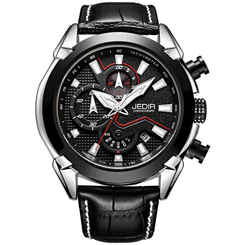 Chronograph Wrist Watch - JEDIR Men's Multifunction Watches Analogue Chronograph Wrist Watch Quartz Display Date Calfskin Leather Strap(Black/Black)