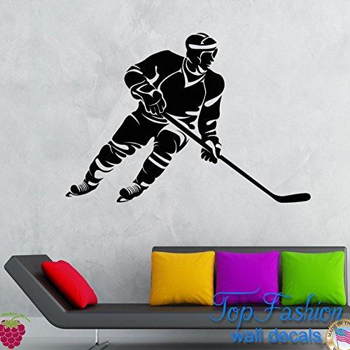 Hockey Puck Costumes (Wall Decal Sticker Bedroom hockey sport game helmet stick puck nursery bo2697)